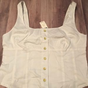 Anthropologie Maeve White Poplin Top Size 12